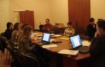 During the presentation at Ivan Franko National University, Lviv, 11/18/2016. Right center: Halyna Mazuryk, student.