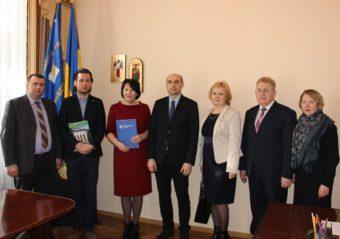 (left to right) Assoc. Prof. Yuri Vovk, Dr. Pawel Trefler, Rector of the University Prof. Nadiya Skotna, Prof. Piotr Dlugosz, Prof. Lesia Kravchenko, Prof. Yaroslav Yaremko, Assoc. Prof. Vira Meniok.