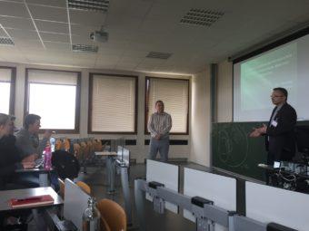 Ihor Zubrytsky and teacher Victor Lishniansky deliver a lecture