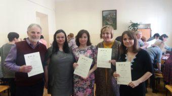 Left to right: Prof. Myroslav Savchyn, Dr. Katarzyna Klimkowska, Assoc, Prof. Lesia Vasylenko, Maria Zamischak, Svitlana Zabolotska