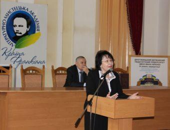 The rector, Professor Nadiya Skotna greets the participants at the opening ceremony