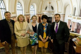At Sofia University. Left to right: Prof. Panayot Karagyozov, an employee of the Polish Institute in Sofia Galina Krasteva, Vira Meniok, Prof. Kalina Bahneva, director of the Polish Institute in Sofia Jaroslaw Godun