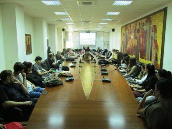 During the lecture in the University in Veliko Tarnovo.