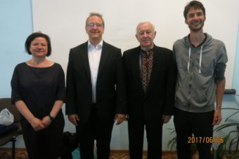 Organizers of the concert in Drohobych Maria Karalyus and Tobias Genschwein with the directors and conductors Olaf Katzer and Stephen Datsyuk