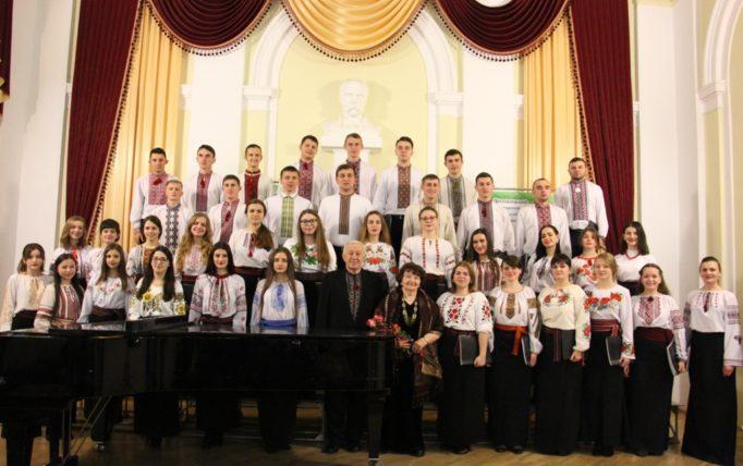 "The folk choir ""GAUDEAMUS"" and Professor Bohdana Filts Participants of the festive academy"