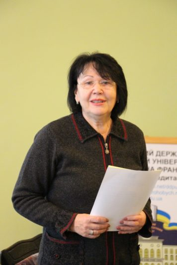 The conference attendants are welcomed by the rector Professor Nadiya Skotna