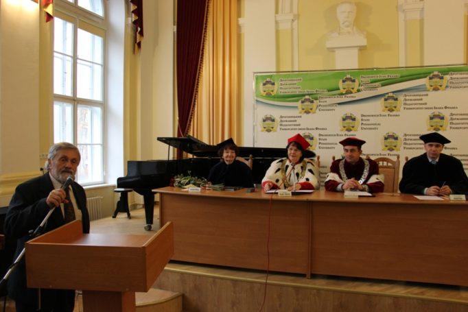 The oration about the nominee is given by the chairman of the Drohobych organization of the National Union of Composers of Ukraine Volodymyr Hrabovsky
