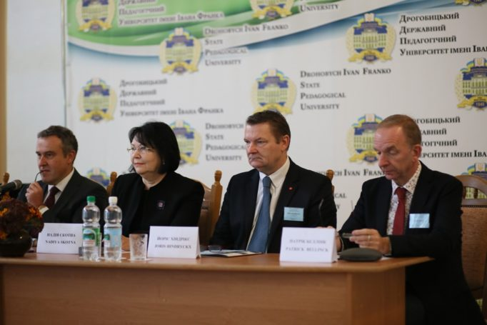 """The conference panel (left to right): the Ambassador Extraordinary and Plenipotentiary of the Kingdom of Belgium to Ukraine, Luc Jacobs, rector of the university, Prof. Nadia Skotna, director of the VIVES University College Joris Hindricks, president of the non-governmental organization VZW """"ORADEA"""" Patrick Bellinck."""