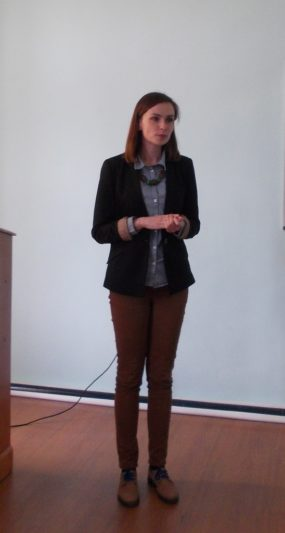 """A specialist of the Department Lidia Romanyk introduces the audience to the peculiarities of the implementation of the """"ERASMUS +"""" program"""