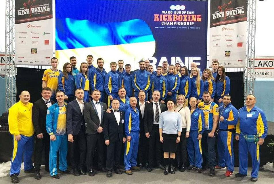 Збірна України з кікбоксінгу (Мар`ян Гуржій у верхньому ряду 14 зліва на право)