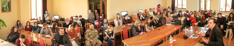 Під час авторської зустрічі з Юрієм Андруховичем у Міській бібліотеці ім. В'ячеслава Чорновола