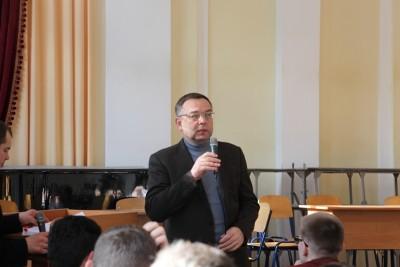 Проф. М. Пантюк вітає учасників загальноуніверситетської інтелектуальної гри