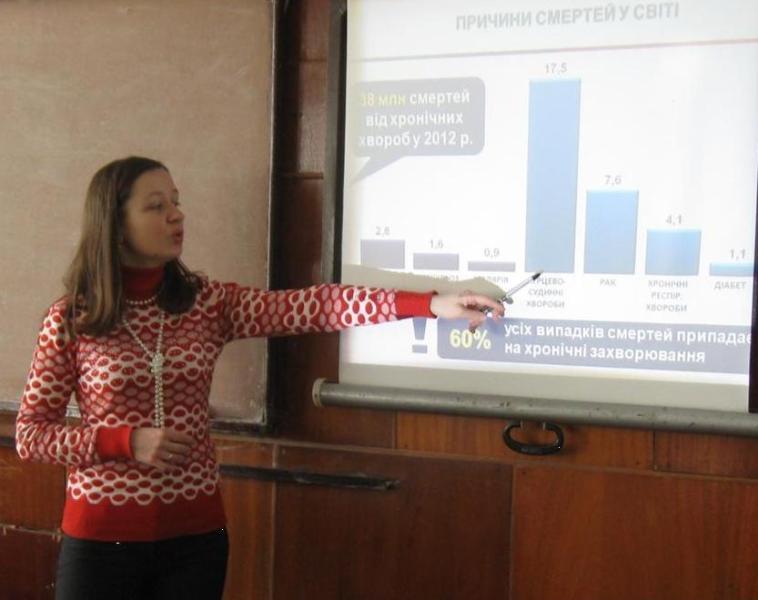 Доповідає викладач Оксана Лупак  у рамках проекту НІЗ на базі ДДПЛ