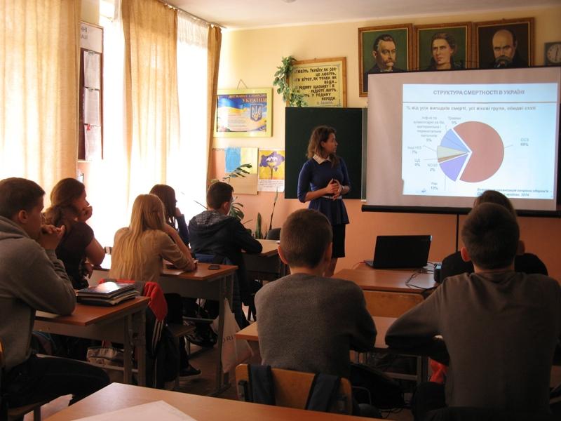Юлія Попович під час презентації у школі м. Нового-Розділу