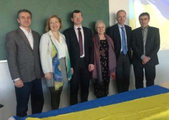 На фото зліва направо Мирон Цайтлер, Світлана Мусіна, Віталій Філь, Людгарде Баг'ю, Патрік Беллінк, Іван Ванхале.