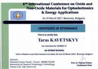 Сертифiкат учасника Тараса Кавецького
