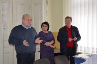 На фото (зліва направо): професор Б. Кишакевич, доцент О. Солтисік, доцент Т. Городиський