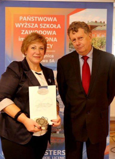 Професор Світлана Щудло з ректором професором Ришардом Писарськи
