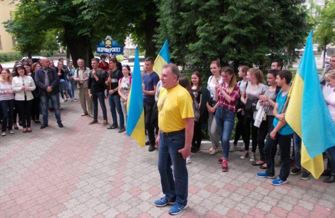 Голова профкому студентів Ігор Гівчак на чолі студентської колони